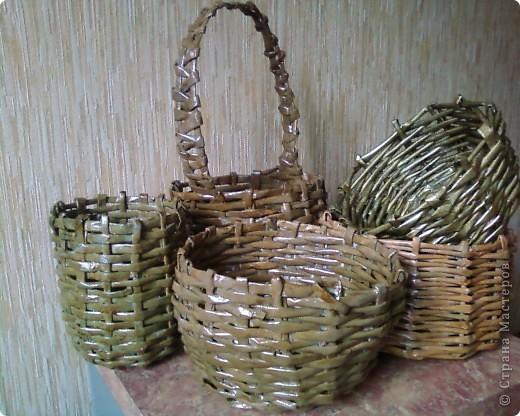 Мои первые работы по плетению корзинок. фото 2