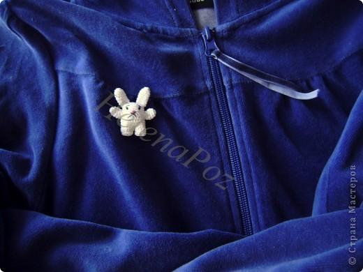 Предлагаю Вашему вниманию вот такую брошку..  White rabbit of Alice     Автор игрушки: Allison Hoffman /ссылка удалена, Пользовательское соглашение п.2.4/ Перевод Helena Poz  мой  Захотелось мне брошку... Стала смотреть что вяжут другие.. везде цветы, цветы ...  а мне хотелось чего-то интересного, милого, озорного и веселого.... Целый день искала и думала, чего бы сотворить.. Тут совершенно случайно, даже не помню как и где наткнулась на блог искусной мастерицы, она профилируется на вязаных куклах.. и увидала у нее это маленькое чудо под названием white rabbit of Alice (белый кролик Алисы из сказки Алиса в стране чудес). Влюбилась и в дневник, и в белого кролика. А для брошки он просто идеальный и как раз то, что я хотела!!! А главное настолько прост , что я долго удивлялась как я сама не догадалась такого связать.. Хотя может, если бы  посидела подольше...  =)) фото 2