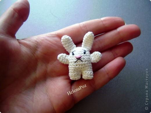 Предлагаю Вашему вниманию вот такую брошку..  White rabbit of Alice     Автор игрушки: Allison Hoffman /ссылка удалена, Пользовательское соглашение п.2.4/ Перевод Helena Poz  мой  Захотелось мне брошку... Стала смотреть что вяжут другие.. везде цветы, цветы ...  а мне хотелось чего-то интересного, милого, озорного и веселого.... Целый день искала и думала, чего бы сотворить.. Тут совершенно случайно, даже не помню как и где наткнулась на блог искусной мастерицы, она профилируется на вязаных куклах.. и увидала у нее это маленькое чудо под названием white rabbit of Alice (белый кролик Алисы из сказки Алиса в стране чудес). Влюбилась и в дневник, и в белого кролика. А для брошки он просто идеальный и как раз то, что я хотела!!! А главное настолько прост , что я долго удивлялась как я сама не догадалась такого связать.. Хотя может, если бы  посидела подольше...  =)) фото 1