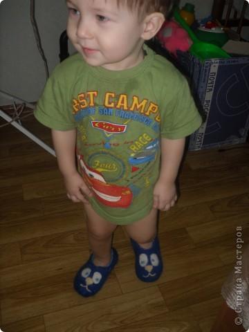 Первые тапочки решила свалять сыночку,так сказать на пробу... фото 2