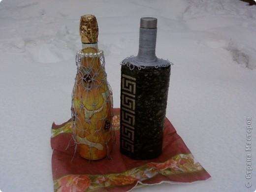 А это наши первые бутылочки. Делали их на годовщину свадьбы дедушке и бабушке. детям очень понравился сам процесс фото 1