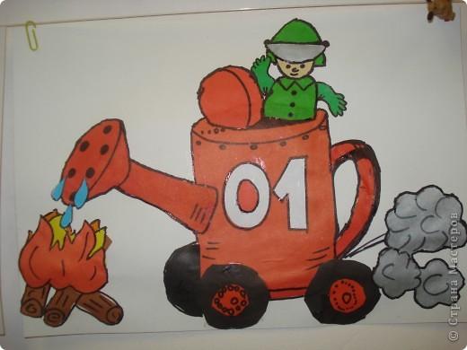 Эта работа тоже выбрана на городской конкурс по пожарной безопасности. Как стало известно позже работа заняла первое место в областном конкурсе. фото 1