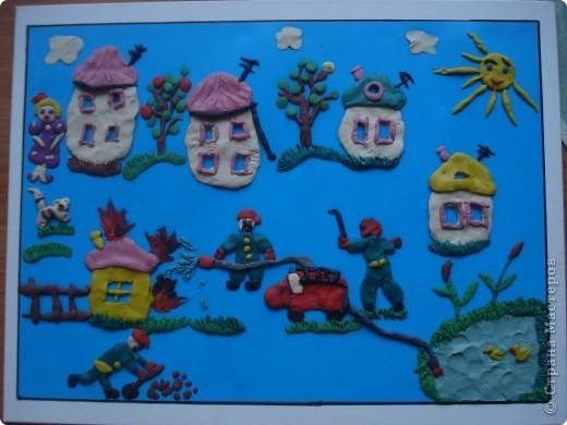 """""""Кошкин дом""""Эту поделку делала моя напарница с одним ребенком на городской конкурс. Ребенку 5 лет,она очень хорошо лепит.Работа делалась не один день. фото 2"""