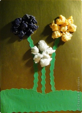 Цветы из мятых салфеток фото 8