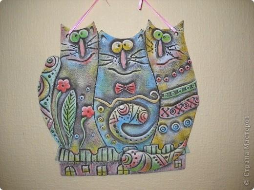 """Спасибо сайту """"Цветная рыба"""", так много интересных идей. Все бы лепила и лепила, только времени не хватает.  Кошачья любовь. фото 1"""