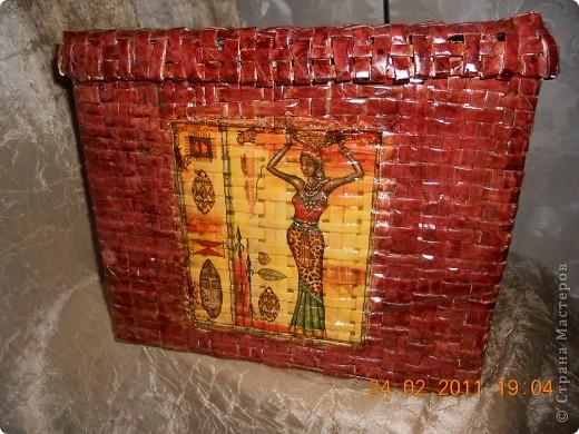 Моя вторая плетеная корзинка в африканских мотивах.Вид спереди. фото 1