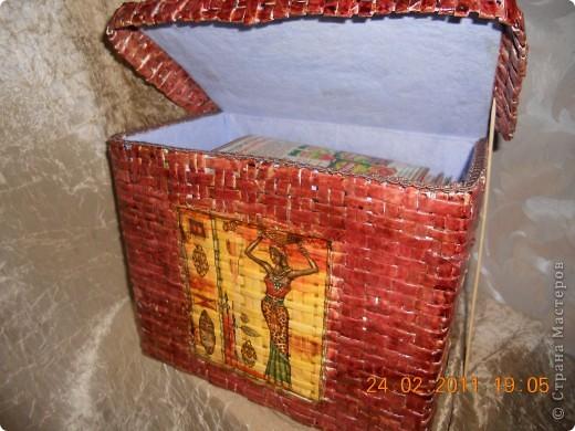 Моя вторая плетеная корзинка в африканских мотивах.Вид спереди. фото 4