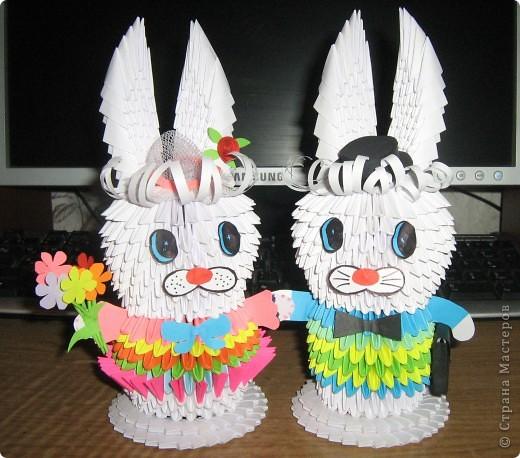Зайчик и зайка-модница из модулей  фото 1