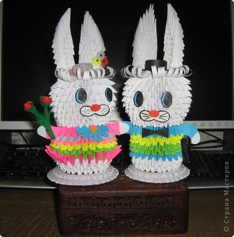 Зайчик и зайка-модница из модулей  фото 2