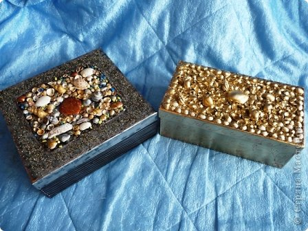 Декор коробок.Ракушки,песок. фото 1