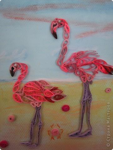 """После """"Лебёдушки"""" захотелось ещё поработать с птицами, стала выбирать, увидела фламинго...и заболела этими птицами. фото 1"""