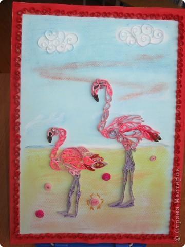 """После """"Лебёдушки"""" захотелось ещё поработать с птицами, стала выбирать, увидела фламинго...и заболела этими птицами. фото 2"""