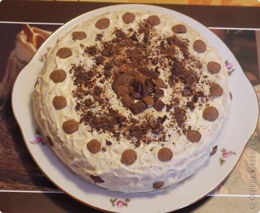 Торт - бисквитный, крем - сметанный, украшен конфетами, какие оказались дома.. фото 1