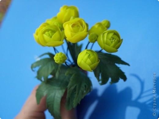 """Вот и расцвел в моих руках маленький букетик купальницы, благодаря прекрасному сайту одной из прекрасных мастериц нашей """"страны мастеров""""! http://www.clayart.com.ua/ фото 1"""