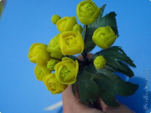 """Вот и расцвел в моих руках маленький букетик купальницы, благодаря прекрасному сайту одной из прекрасных мастериц нашей """"страны мастеров""""! http://www.clayart.com.ua/ фото 5"""
