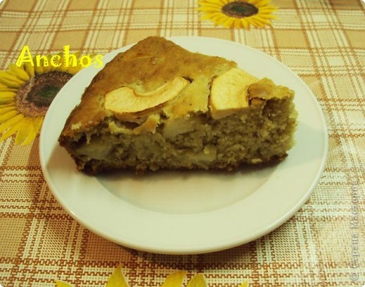 Овсяной пирог с яблоками.