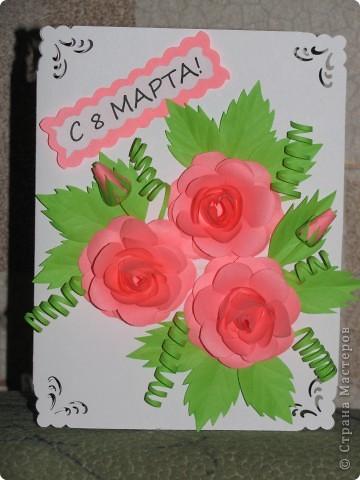 Эту открыточку делала, увидев  красивые розы здесь http://stranamasterov.ru/node/112305?c=favorite. Я делала из офисной бумаги не высокой плотности, поэтому лепестки получились не очень тиснёнными. У меня нет специальных инструментов. Делаю всё подручными средствами. фото 1