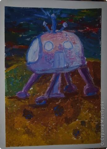"""Юные художницы """"отправили"""" свои корабли  в космические путешествия, к далёким планетам. Влада Козарева (7 л) создала """"Длиннолёт""""  фото 3"""