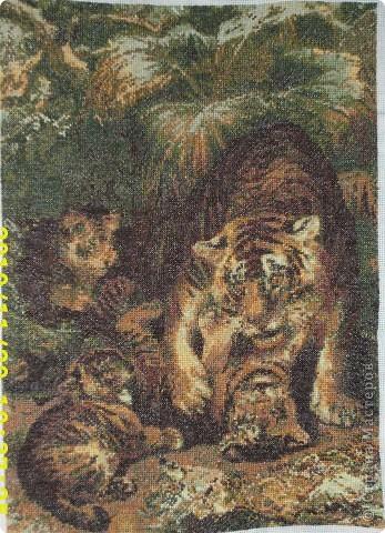 """Вышитое тигриное семейство. Картина крестиком, сплошное заполнение, схема - из коллекции """"Вышивка крестом"""", 14 цветов, """"все оттенки зеленого"""". Вышивалась долго, больше года, некоторые цвета меняла во время работы. Со схемой вообще интересно получилось. Купила в магазине для рукоделия схемку, тональность зелено-коричневая, на ней тигрица и ДВА тигренка, один с мамой играется, другой рядом на боку лежит. Вышила примерно треть, и в другом рукодельном магазине вдруг вижу почти ту же схему, тональность сине-серо-зеленая, и на ней ТРИ тигренка, еще один из пещерки выглядывает... В общем, на первую схему совместила тигренка из второй. И еще убрала остатки пищи))) тигриной, заменила камешками и травкой. Получилось... то, что получилось."""