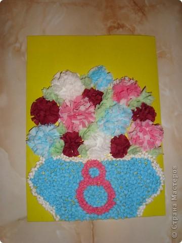 Открыточка на 8 марта! корзинка с цветами :)