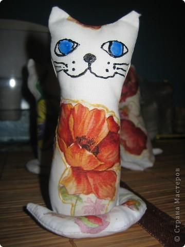 на создание таких котят меня вдохновила ЗОЯ ХОЛИНА, мои конечно не такие как ее, но полистав странички интернета(искала технику декупажа на ткань) натунулась на это http://www.sangina.ru/pedia/decor1/dekupazh/mk_decoupage_a_textile/ фото 4