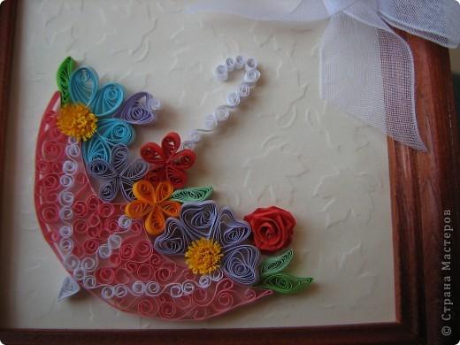 Картина панно рисунок Квиллинг Тиснение зонтик в цветах Бумага фото 2.