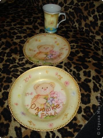 Комплект для моей девочки (кружка, глубокая и мелкая тарелки) фото 2