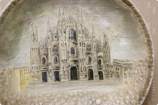 Вот такое чудо :) Кафедральный собор в Милане (Собор Дуомо) ЭТО продолжение нашей серии:) Было еще две Тарелка МЕчта на ней изображение Моста Риальто http://stranamasterov.ru/node/121703 и еще вот здесь Церковь Санта-Марии делла Салюте http://stranamasterov.ru/node/120570  фото 3