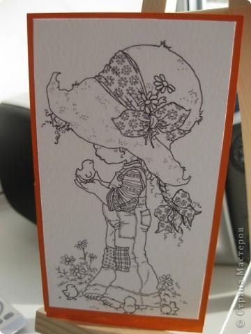 Мне очень понравилась идея открыток с картинками, поэтому и к 8 марта для первоклассниц решила предложить такой вариант открытки. фото 1