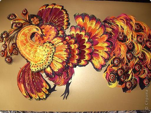Картина панно рисунок 8 марта Квиллинг ПТИЦА-ЖАР Бумажные полосы фото 1