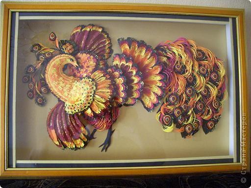 Картина панно рисунок 8 марта Квиллинг ПТИЦА-ЖАР Бумажные полосы фото 9