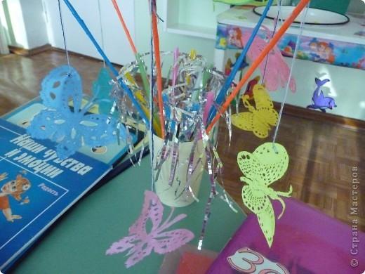Бабочки из ткани,Деревянные шпажки,нитки фото 1