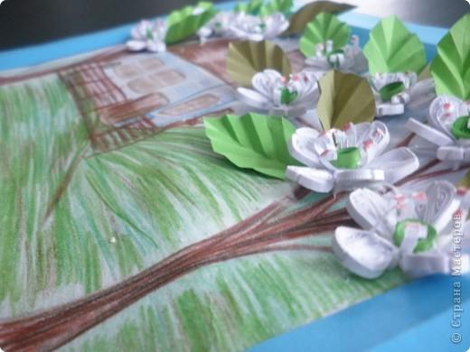 Картина панно рисунок Бумагопластика Квиллинг Рисование и живопись Садок вишневий коло хати   Бумага фото 3