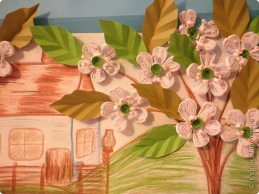 Картина панно рисунок Бумагопластика Квиллинг Рисование и живопись Садок вишневий коло хати   Бумага фото 2