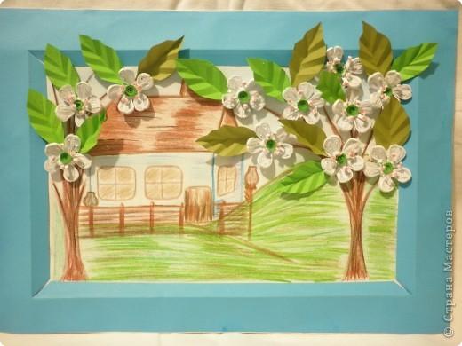 Картина панно рисунок Бумагопластика Квиллинг Рисование и живопись Садок вишневий коло хати   Бумага фото 1