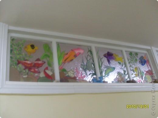 Роспись верхних окон, аквариум на стекле. фото 1
