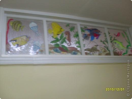Роспись верхних окон, аквариум на стекле. фото 2