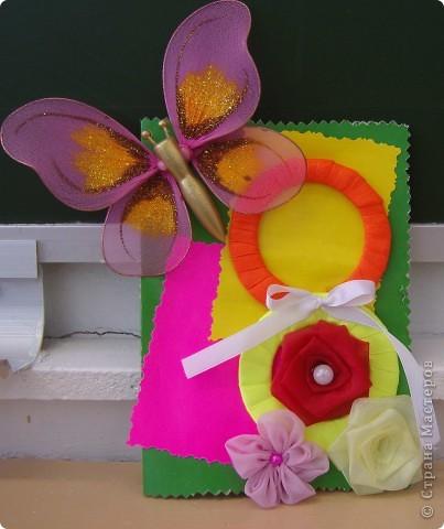 """Котик из """"Травки"""", а открытка с использованием атласной ленты. Все открытки изготовлены учениками 2 класса. фото 5"""