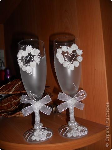 """Это мои 1е бокалы,еще на ножке ленточка будет.... Старалась... Судите сами!!! Валентина Мартычева спасибо за помощь в названии!!!!!! """"НЕЖНОСТЬ""""!!!! фото 4"""