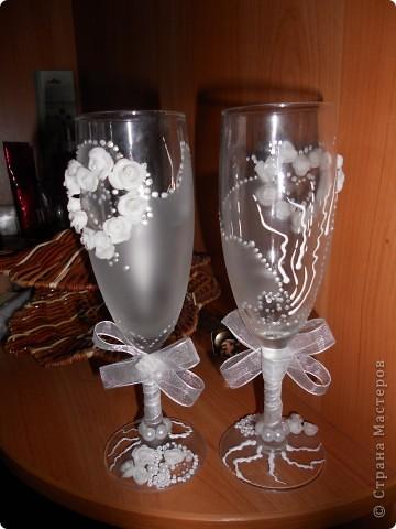 """Это мои 1е бокалы,еще на ножке ленточка будет.... Старалась... Судите сами!!! Валентина Мартычева спасибо за помощь в названии!!!!!! """"НЕЖНОСТЬ""""!!!! фото 3"""