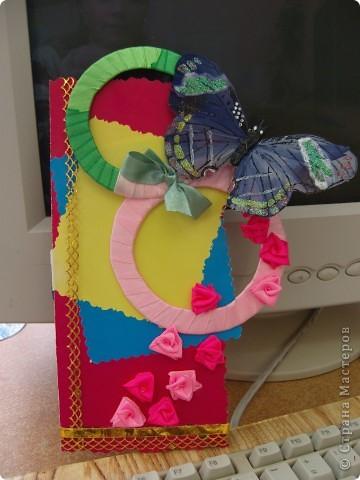 """Котик из """"Травки"""", а открытка с использованием атласной ленты. Все открытки изготовлены учениками 2 класса. фото 6"""