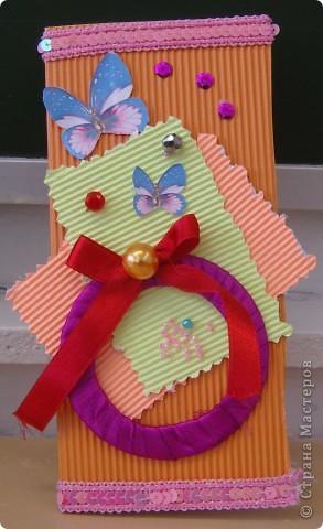 """Котик из """"Травки"""", а открытка с использованием атласной ленты. Все открытки изготовлены учениками 2 класса. фото 3"""