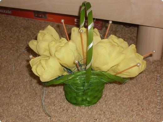 Обожаю тюльпаны! В ожидании живых решила порадовать себя и сделала такие)) И они радуют)) фото 1