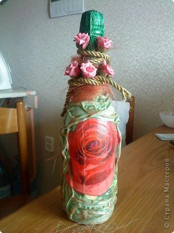 Бутылки с прямым и обратным декупажем фото 5
