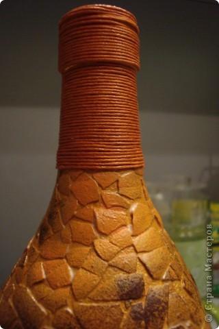 Насмотрелась на африканские бутылки и яичное кракле и загрелось... Вот что из этого вышло. Выбор салфеток на эту тему у меня  не велик, всего одна)))). Бутылку сделала по заказу коллеги по работе. Завтра покажу ей, надеюсь не разочарую. фото 3