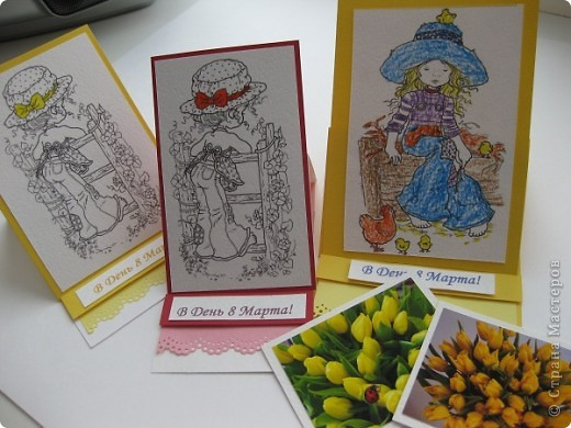 Одну открытку я сделал на уроке с Ириной Юрьевной, а остальные продолжил с мамой (Голубкой) дома. фото 1