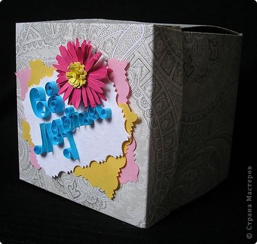 Идею увидела у Lusien http://stranamasterov.ru/node/149750?c=favorite. Очень понравилось, захотелось сделать такой подарочек для подруги. По-моему, получилось неплохо. Только квилинг никак не поддается. Но здесь что-то даже оформилось. фото 2