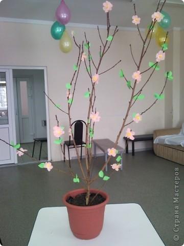 Наше деревце отлично вписалось в интерьер и занимало почётное место на утреннике, посвященному Дню 8 марта! фото 1