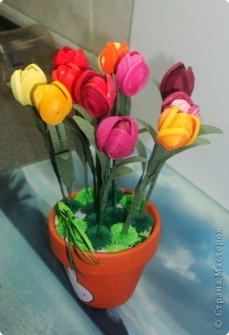 Это мои тюльпанчики в горшочке. Спасибо большое за МК Оленьке Osonikе: http://stranamasterov.ru/node/73209 фото 3