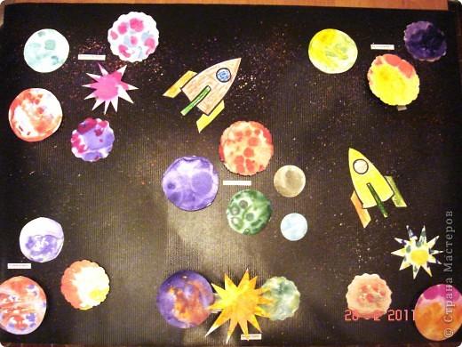 """Вот так мы с помощью нашего сайта раскрыли тему """"Космос""""... Это панно (формат А2) я рисовала в качестве образца для детей, используя мастер класс мастерицы Наталия-54. Огромное ей спасибо за идею! А вот, что получилось у детей...  фото 8"""